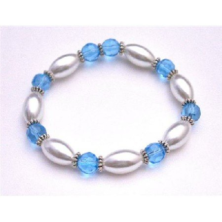 UBR158  Ethnic White Oval Pearls w/Aquamarine Glass Ball 10mm Bali Silver Stretchable Bracelet