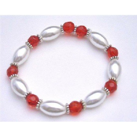 UBR155   White Oval Pearls With Lite Red Glass Ball 10mm Prom Jewelry Stretchable Bracelet