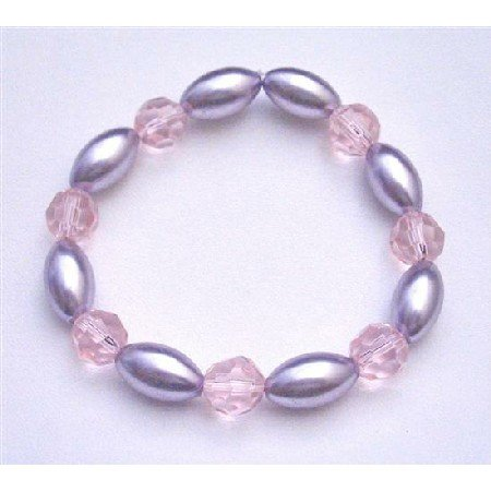 UBR153 Bridal Stretchable Bracelet Mauve Purple Oval Pearls 10mm Rose Round Bracelet