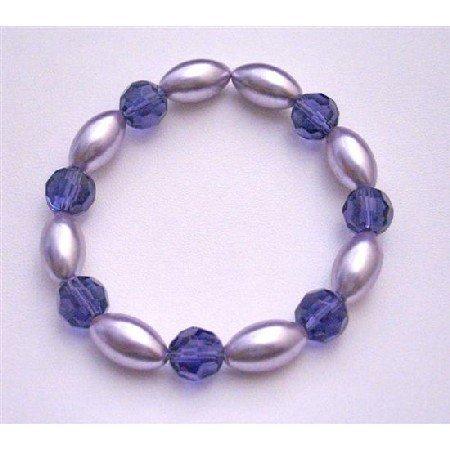 UBR152 Bridemaids Stretchable Bracelet Pearls Purple Pearls Velvet Round 10mm Glass Beads