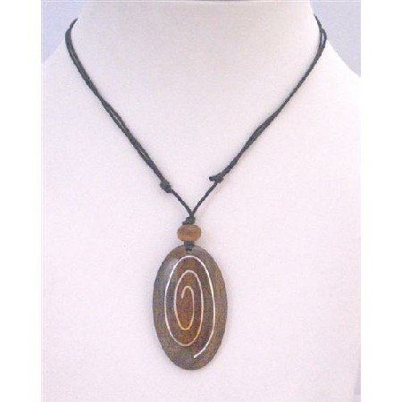 U169 Stylish Excellent Quality Affordable Inexpensive Ethnic Wooden Pendant Necklace