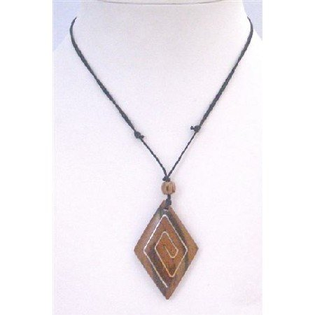 U168 Ethnic Excellent Crafmanship Wooden Pendant Necklace Black Cord Adjustable Vintage Necklace