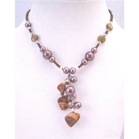 U164  Shell Choker Brown Cultured Pearls & Shell Necklace