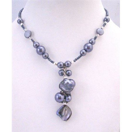 U162  Grey Pearls Shell Choker Necklace With Dangling Wonderful Necklace