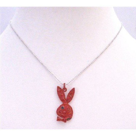 U136  Red Rabbit With Sparkling Red Crystals Black Eye Cute Red Rabbit Pendant Necklace