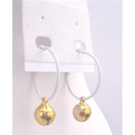 D186 Golden Bead Dangling Hoop Earrings Dollar Jewelry White Hoop Golden Jingle Bell Dangling