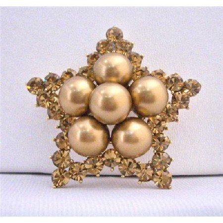 B353  Vintage Copper Brooch Star Brooch Copper Crystals Star Brooch w/ 12mm Copper Pearls
