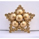B353  Vintage Copper Brooch Star Brooch Copper Crystals Star Brooch w/ 12mm Copper Pearls