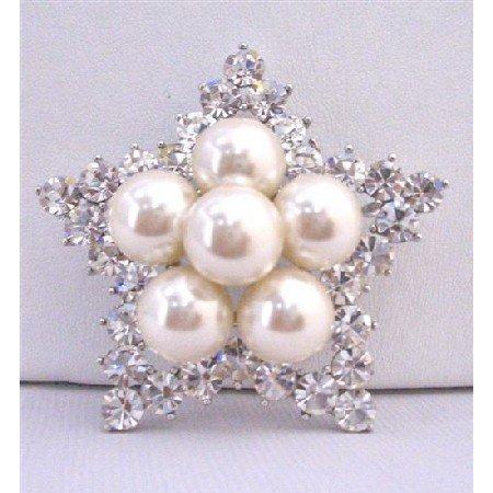 B352 Diamond Star Brooch w/12mm ivory Pearls Simulated Diamond Cubic Zircon Star Brooch