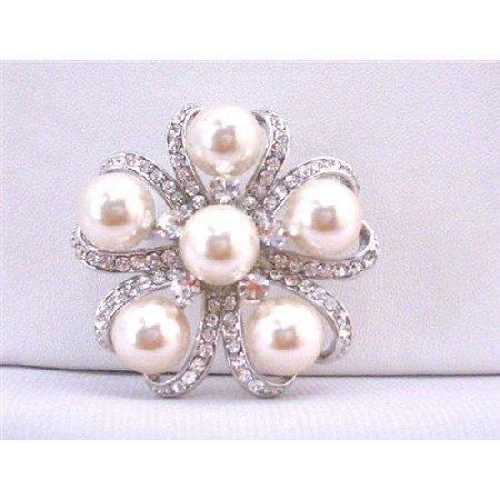 B351  Ivory Pearls Brooch Wedding Bridal Dress Brooch Framed w/Cubic Zircon Cake Brooch