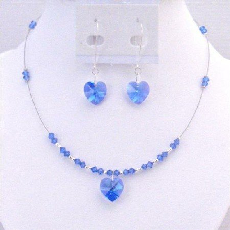 NSC708 Crystals Jewelry Set Sapphire Crystals Heart Pendant Earrings Jewelry Set