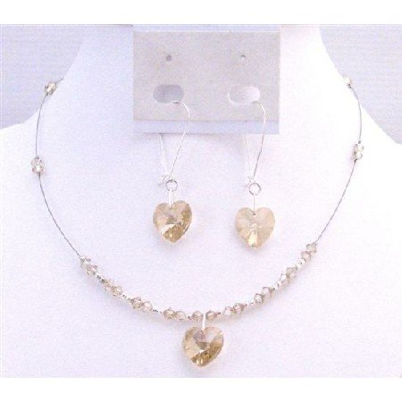 NSC705 Golden Shadow Crystals Heart Pendant Jewelery Set Prom Jewelry Bridal Valentine Jewelry