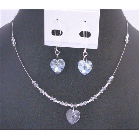 NSC704  Clear Crystals Heart Pendant Earring Set Gorgeous Dainty Sleek Affordable Valentine Gift