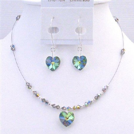 NSC703 Heart Jewelry Set Vitral Medium Swarovski Crystals Heart Pendant Earrings Set