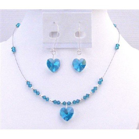 NSC701 New Sparkling Genuine Swarovski Blue Zircon Heart Pendant Exclusively Valentine Gift