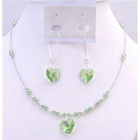 NSC700 Swarovski Peridot Crystals Heart Pendant  Earrings Sterling Silver HOop Jewelry Set