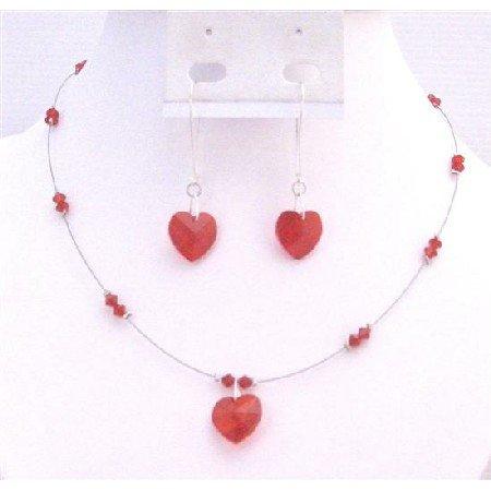 NSC696  Valentine Jewelry Lite Siam Red Crystals Heart Jewelry Set Sterling Hoop Earrings Set