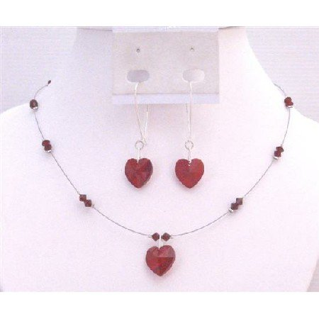 NSC695 Valentine Love Filled With Siam Red Crystals Swarovski Red Crystals Heart & Beads Necklace