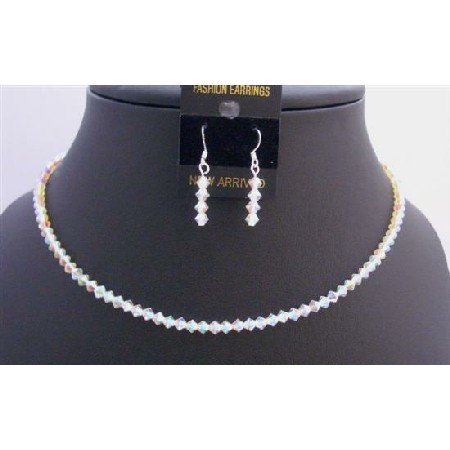 NSC288  Round Neck Necklace String Genuine Swarovski AB 2X Crystals Necklace