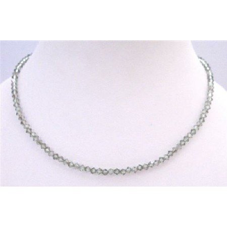 NSC287  Chrysolite Satin Crystals Round Neck Necklace String Genuine Swarovski Crystals Necklace