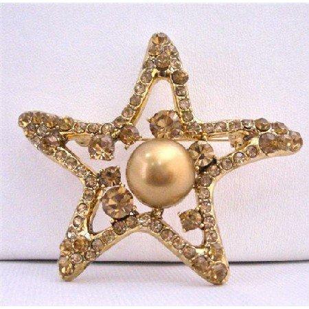 B350 Smoked Topaz Brooch Golden StarFish Brooch With 12mm Copper Pearls Vintage Brooch