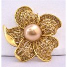 B346 Golden Sunflower Brooch w/Golden Shadow Crystals All Over Spread Vintage Brooch Pin
