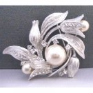 B341 Tulip Brooch Very Sophisticate Made w/Silver Metal Sparkling W/Cubic Zircon