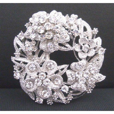 B340  Sparkling Round Bridal Dress Brooch With Tiny & Round Flower Decorated W/ Cubic Zircon