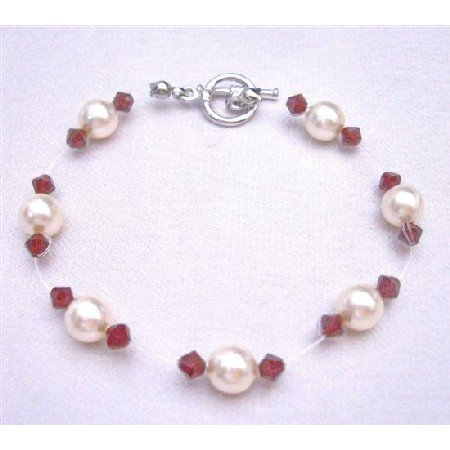 TB755  Cheap Wedding Jewelry Genuine Swarovski Ivory Pearls & Siam Red Crystals Bracelet