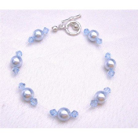 TB753  Bridemaides Wedding Jewelry Aqumarine Pearls Crystals Toggle Clasp Bracelet
