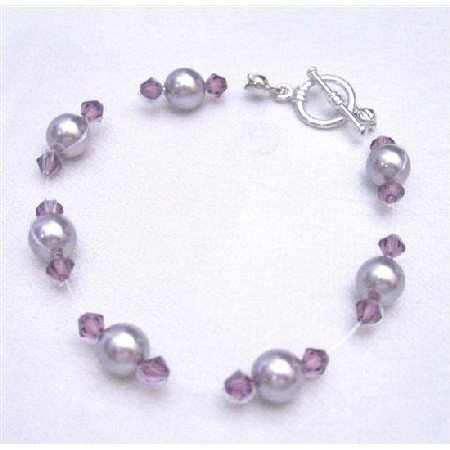TB750 Swarovski Jewelry Mauve Pearls w/ Amethyst Crystals Bracelet Bridemaids Flower Girl
