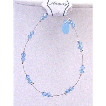 TB747 Aquamarine Swarovski Crystals w/ Glass Bead Teardrop Accented Wire Bracelet