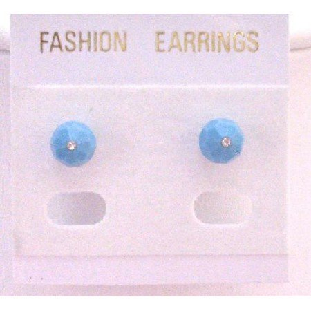 UER337  Turquoise Jewelry Swarovski Turquoise Crystals Stud Earrings Inexpensive Earrings
