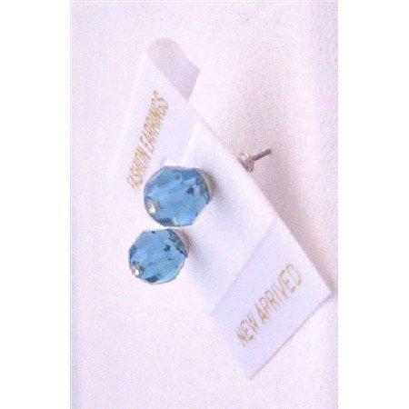 UER329  Indicolite Beautiful Sleek Swarovski Crystals Stud Earrings Bridemaides Jewelry
