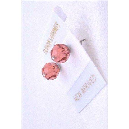 UER325  Crystals Padparascha Stud Earrings Genuine Swarovski Padparascha Crystals Stud Earrings