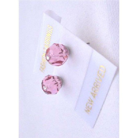 UER323  Wedding Swarovski Rose Crystals Stud Earrings Pink Crystals Stud Earrings Jewelry