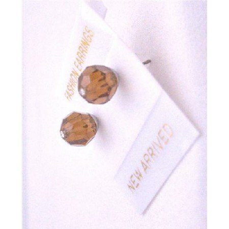 UER321  Swarovski Crystals Stud Earrings Smoked Topaz Brown Crystals Stud Earrings