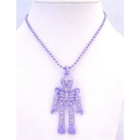 HH215 Purple Skeleton Halloween Body Pendant Necklace Pendant Fully Embedded w/Simulated Diamond