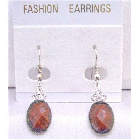 D146 Jasper Stone Colored Oval Bead Earrings Decorated w/ 3 Simulated Diamond On The Top