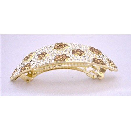 HA501Smoked Topaz Crystals Hair Barrette Prom Bridal Hair Jewlery Clear Crystals Hair Barrette