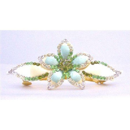 HA468 Hair Barrette Hand Painted Flower Decorated Olivine Clear Peridot Crystals