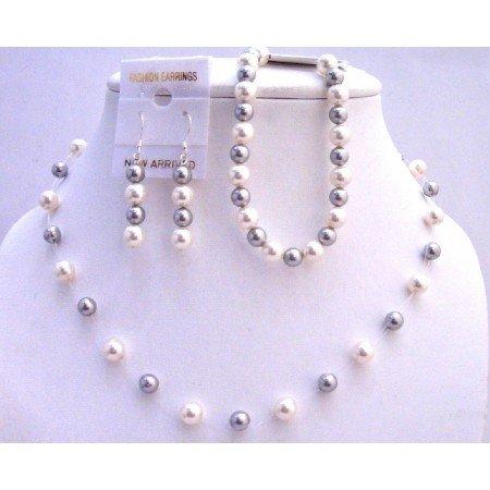 BRD812  Silver Grey Pearls & White Pearls Necklace Earrings w/ Bracelet Necklace Set