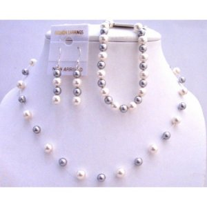 BRD812  Silver Grey Pearls & White Pearls Necklace Earrings w/ Bracelet Necklace Set