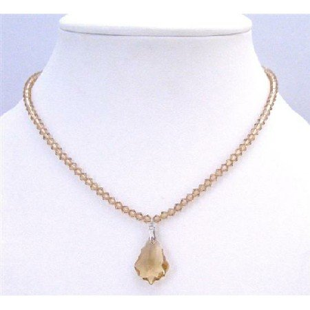 BRD882  Lite Colorado Crystals Briollette Pendant Prom Bridemaids Necklace