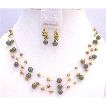 BRD877 Golden Dark Green Freshwater Pearls w/ Swarovski Khakhi Crystals Jewelry Set