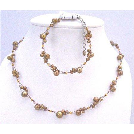 BRD876 Interwoven Necklace Set Metallic Brown Pearls Necklace&Bracelet Set Bridemaids Jewelry Set