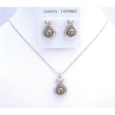 BRD874  Darkest Brown Chocolate Pearls Pendant & Earrings Jewelry Set