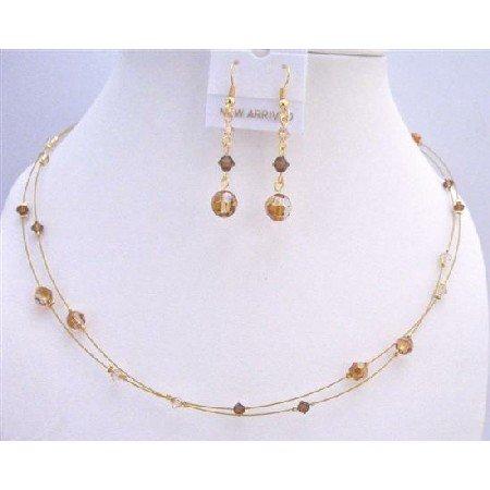 BRD869  Swarovski Copper Crystals Golden Shadow & Smoked Topaz TriColor Crystals Necklace Set