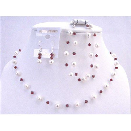 BRD859 White Pearls Siam Red Crystals Wedding Jewelry Set Genuine Swarovski Siam Red Jewelry Set