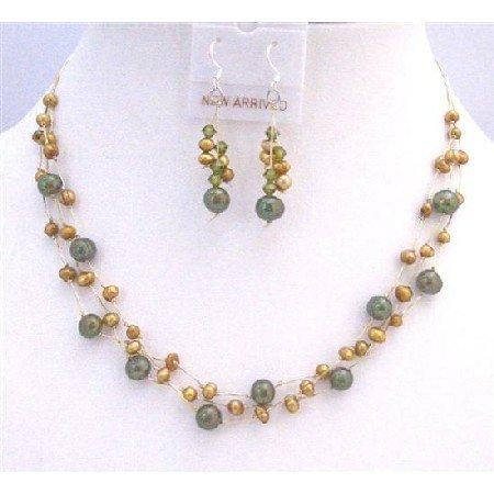 BRD846  Golden Freshwater Pearls Green Pearls Three Stranded Silk Thread Necklace Set Jewelry